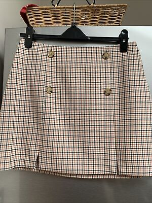 £2.99 • Buy Ladies Pink Mix Dog Tooth Check Skirt From Miss Selfridge Size 12 Button Detail