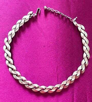 £15 • Buy Vintage Trifari Necklace Brushed & Smooth Silver Tone