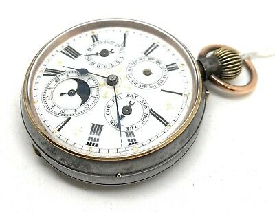 £22 • Buy A Partly Working Gun Metal Moon Phase Open Faced Top Winding Pocket Watch