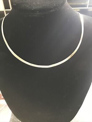 """£165 • Buy 9ct Solid Gold Snake Chain Necklace 9k 375 18"""" Inches Long Flat Snake Chain"""