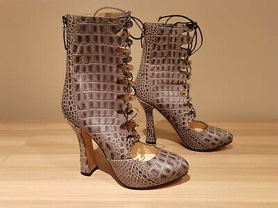 £155 • Buy NEW - Beatrix Ong Grey Leather Lace-Up Platform Ankle Boots - UK 6 / EUR 39
