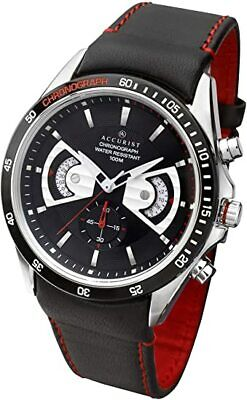 £48.99 • Buy Accurist MS645 Gents Chronograph Watch New Black Leather Strap MS645B-CAL.JS24