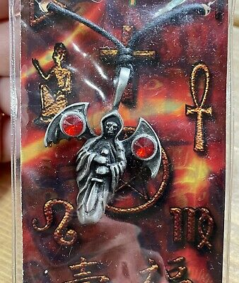 £3.99 • Buy Reaper Skull Red Crystal Pewter Pendant Cord Necklace Gothic Goth Symbol Pagan
