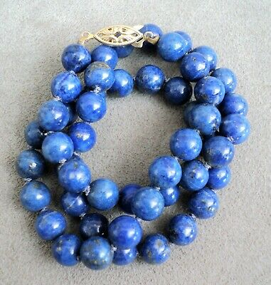 $39.95 • Buy Vtg Blue LAPIS NECKLACE 8mm Knotted Between Gold Vermeil STERLING CLASP 17.75