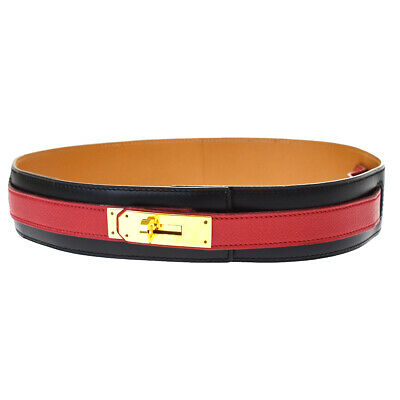 £295.68 • Buy Authentic HERMES Logo Kelly Buckle Belt Leather Black Red Gold France 69MH939
