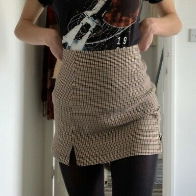 £12 • Buy Urban Outfitters Houndstooth/dogtooth Straight Mini Skirt In Size S/P