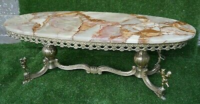 £250 • Buy Vintage Oval Marble Onyx Top Solid Coffee Table With Brass Sculptured Cherubs