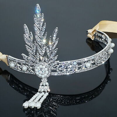 £11.99 • Buy The Great Gatsby Inspired 1920 Hair Pieces Tiara Crown Flower Clear Crystal