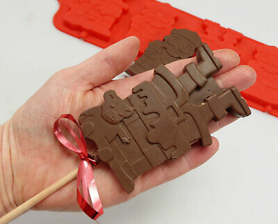 £5.99 • Buy 4 Cell Father Christmas / Santa And Chimney Lolly Chocolate Bar Silicone Mould