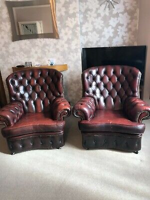 £325 • Buy Chesterfield Leather Monk Wing Back Chairs X 2