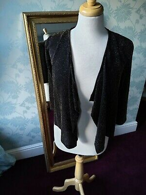 £4 • Buy Wallis Lurex Evening Jacket With Waterfall Front, Small, Brown With Gold Sparkle