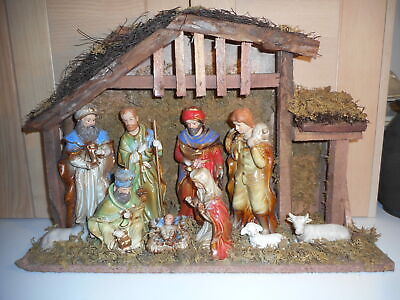£55 • Buy Large Vintage Snow White 10 Figures Christmas Nativity And Stable Set Boxed
