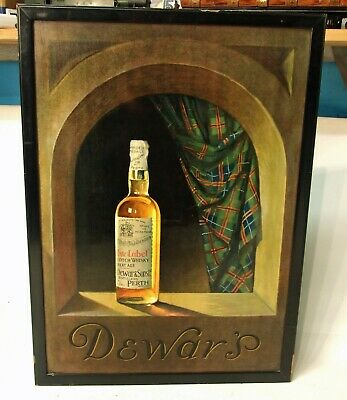 £69 • Buy Original Old Advertising Showcard Sign For Dewar's White Label Scotch Whisky