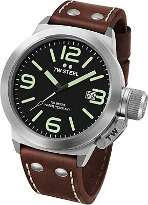 £100 • Buy TW STEEL CS21 Canteen Brown Leather Strap Date Function
