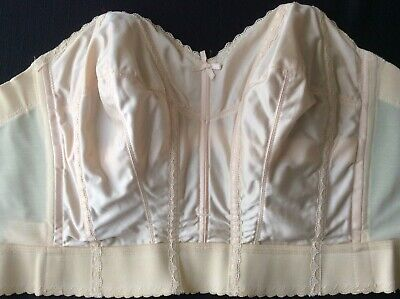 £7.16 • Buy VINTAGE BEIGE LOW BACK BRA CORSET BUSTIER 1960's RARE 38 Union Made USA Promise
