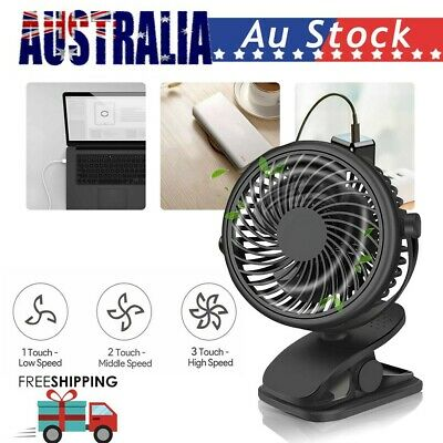 AU25.53 • Buy Mini 3 Speeds USB Rechargeable Cooling Fan Clip On Desk Baby Stroller Portable~