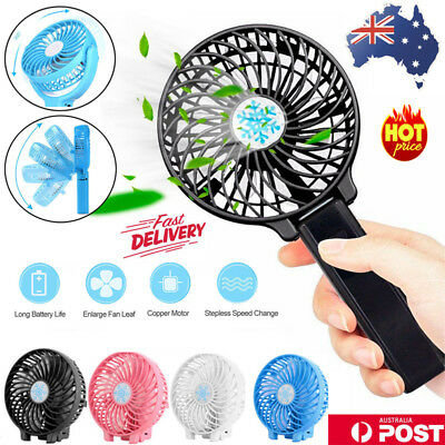 AU12.66 • Buy Portable Mini Hand-held Small Folding Desk Fan Cooler Cooling USB Rechargeable Z