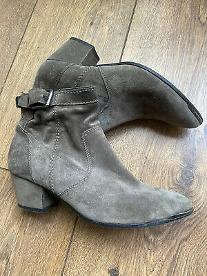 £17.99 • Buy K + S Kennel Schmenger Grey Suede Silver Tip Western Ankle Boots 4 37