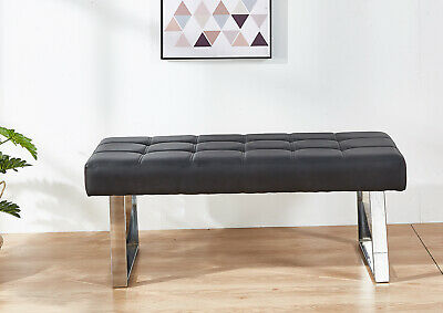 £109.99 • Buy 2/3 Seater PU Dining Chair Bench Soft Padded Long Seat Steel Base Lounge Stool