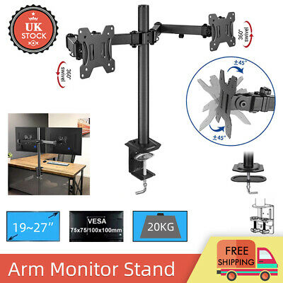 £17.99 • Buy 19 - 27  Fully Adjustable Double Monitor Bracket Dual Arm Desk Stand Stable LED