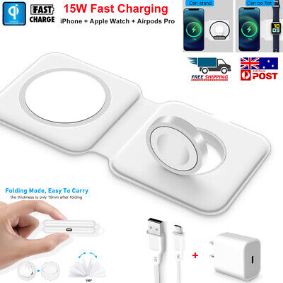 AU32.89 • Buy Foldable 15W Magsafe Magnetic Wireless Charger Pad For IPhone 12 Pro Apple Watch