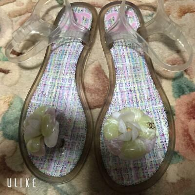 £232.33 • Buy Authentic Chanel Camellia Tweed Flip Flops 38 Free Shipping No.7252