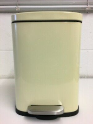 £12.99 • Buy Kitchen 5L Cream Steel Waste Bin With Foot Pedal And Soft Close Flat Lid