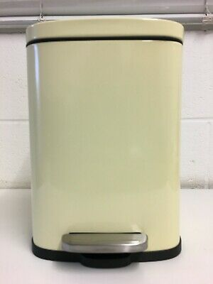 £12.99 • Buy Cream Kitchen 5L Steel Waste Bin With Foot Pedal And Soft Close Flat Lid