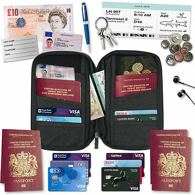 AU8.01 • Buy Organiser Pouch Travel Wallet Passport Holder RFID For Cards Documents IDS Money
