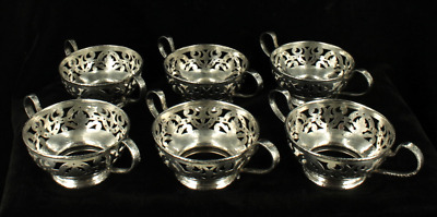 AU1067.51 • Buy Antique Set Of 6 Gorham Sterling Hand Hammered Reticulated Bouillons Dessert Cup