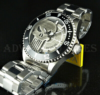 $ CDN60.89 • Buy Invicta 44mm Marvel Punisher Limited Edition SKULL DIAL Silver SS Watch NWD