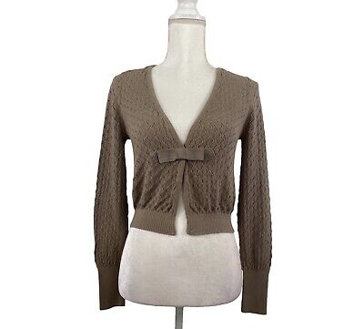 £11.60 • Buy Nicole By Nicole Miller Shrug Sweater Long Sleeve Taupe Accent Bow Size M
