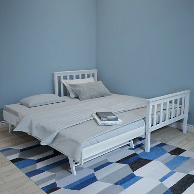 £159.99 • Buy 3FT Single Wooden Day Bed Frame White Guest Bed With Trundle Under Bed 2 In 1bed