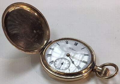 £0.99 • Buy Lovely Antique Gold Filled Full Hunter Waltham Pocket Watch 1907 Fully Working