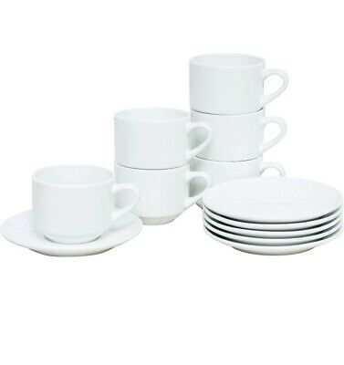 £13.99 • Buy White Cappuccino Cups And Saucers Set Coffee Tea Porcelain 320ml (11oz) Set X6