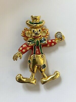 £10 • Buy Large Clown Holding Silver Coloured Rhinestone Brooch
