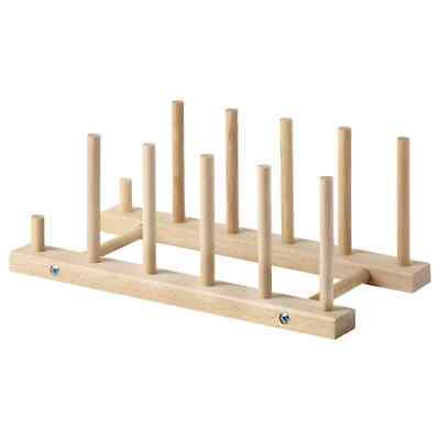 £7.99 • Buy New Ikea Wooden Dish Plate Holder Storage Drying Drainer Vertica Plate Cup Rack