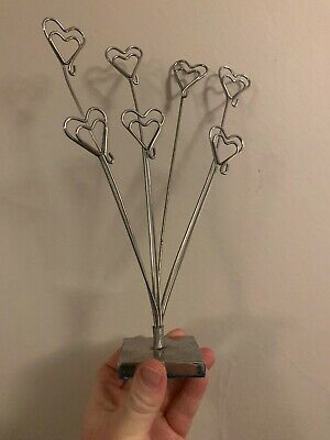£3.30 • Buy Metal Silver Heart Multi Photo Card Holder Used
