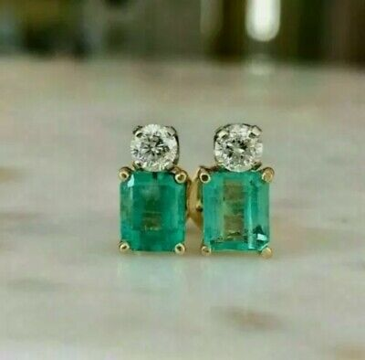£44 • Buy 14k Gold Over 925 SS 4.47Ct Doublet Emerald & Diamond Cocktail Cluster Earrings
