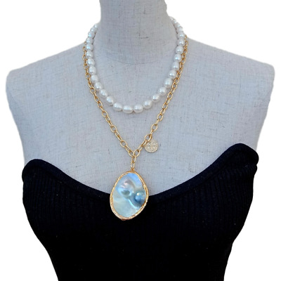 $26.90 • Buy Freshwater White Rice Pearl Chain Necklace Gray Mabe Pearl Pendant 18