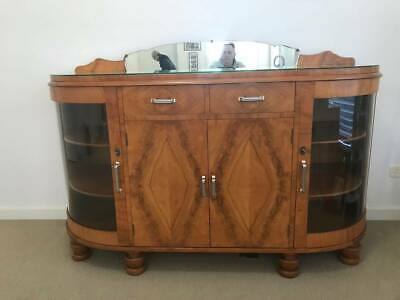 AU350 • Buy Antique Curved Glass Sideboard