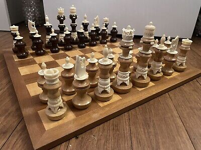 """£47 • Buy Beautiful Large Chess Set And Solid Board , King 5.5"""""""