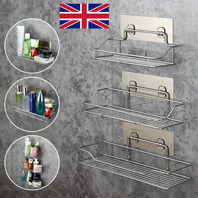 £8.98 • Buy Non Rust Stainless Steel Bathroom Shower Shelf Storage Suction Basket Caddy Tidy