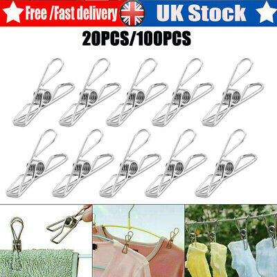 £4.99 • Buy Stainless Steel Washing Line Clothes Pegs Hang Pins Metal Wire Clips Clamps UK