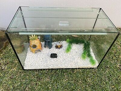 AU120 • Buy 65L Glass Fish Tank Aquarium With Steel Stand And Ornaments/Pebbles