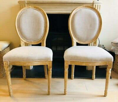 £13 • Buy French Dining Chairs PAIR, Pine Wood Upholstered Cream Fabric, Perfect Condition