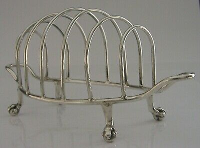 £135 • Buy LARGE ENGLISH SOLID STERLING SILVER SIX SLICE TOAST RACK 1912 ANTIQUE 122g