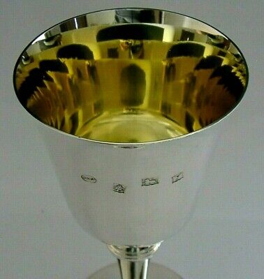 £165 • Buy QUALITY ENGLISH STERLING SILVER WINE GOBLET CHALICE 1973 162g SUPERB
