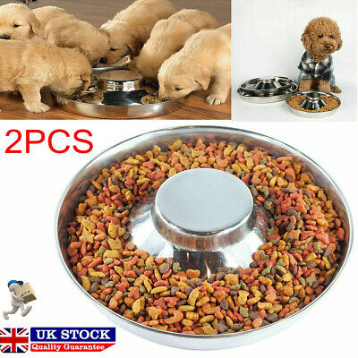 £14.35 • Buy 2x Silver Stainless Steel Puppy Pet Dog Cat Litter Food Feeding Bowl Feeder Dish