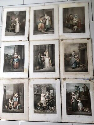 £52 • Buy 9 X Antique Etchings 'Cries Of London' Coloured Etched Prints